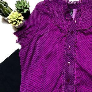 Purple and Black Polka Dot Twofer Top